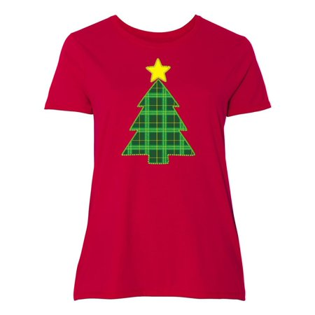 Plaid Christmas Tree Women s Plus Size T-Shirt Patch Holiday Star Red 9b8f11d090