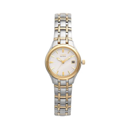 (Citizen Ladies' Eco Drive Silhouette EW1264-50A Two-Tone Stainless steel Bracelet with White Dial Watch)