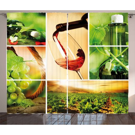 Wine Curtains 2 Panels Set, Wine Tasting and Grapevine Collage Green Fresh Field Pouring Drink Delicious, Window Drapes for Living Room Bedroom, 108W X 90L Inches, Green Ruby Caramel, by