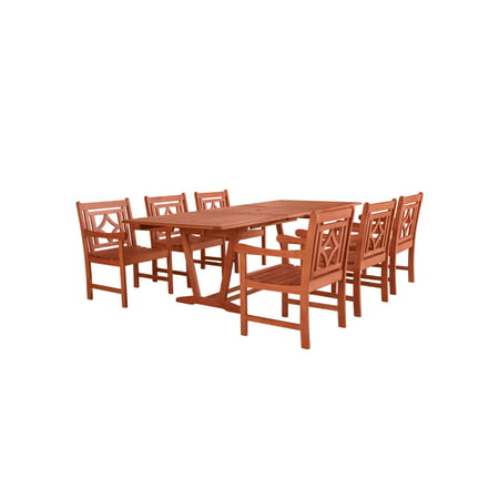 7-Piece Brown Natural Wood Finish Extendable Table Outdoor Furniture Patio Dining Set with Diamond Chairs 91