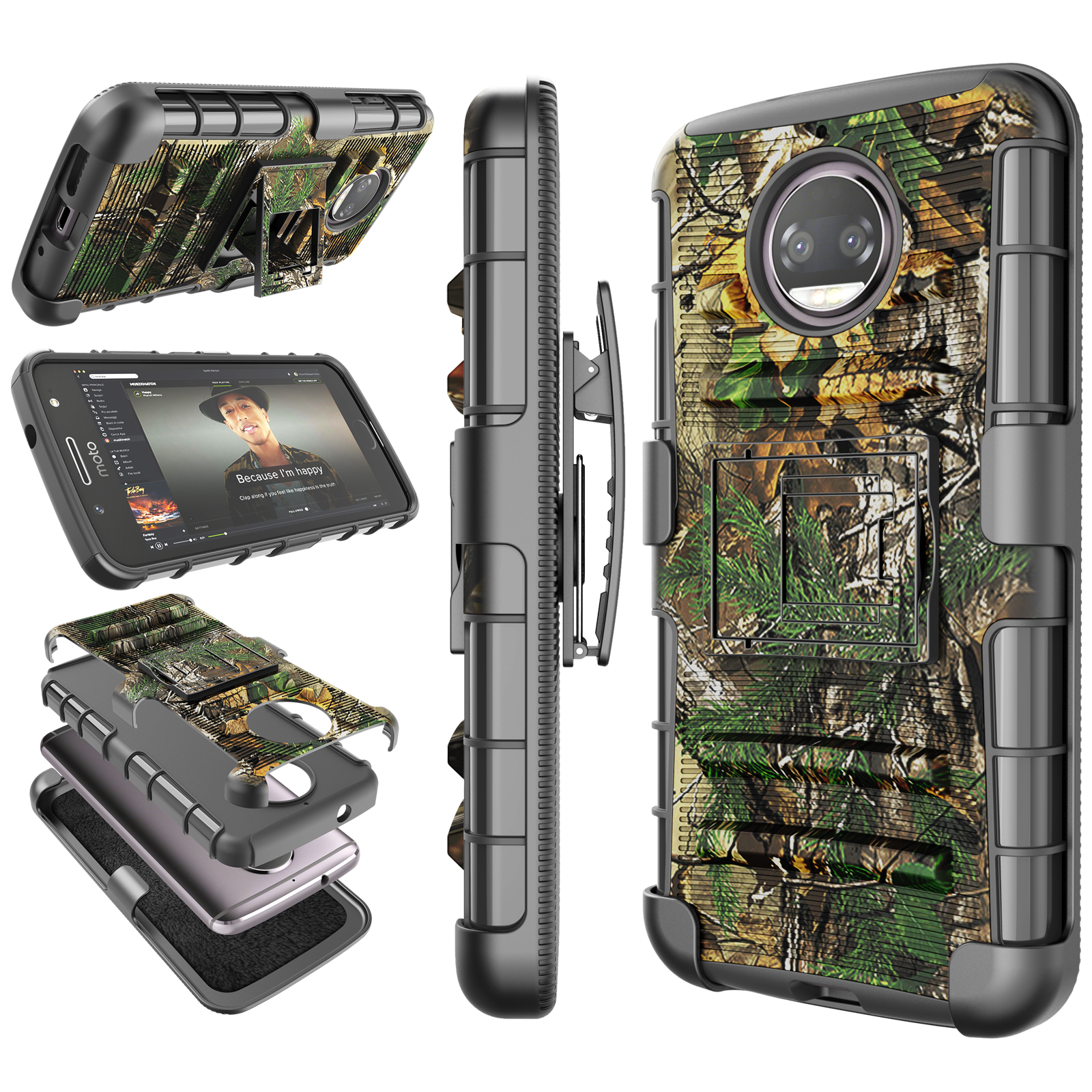 Moto G5S Plus Case, 2017 Motorola Moto G5S Plus Holster Clip, Tekcoo [Hoplite] Shock Absorbing [Camo Pine] Swivel Locking Belt Defender Heavy Full Body Kickstand Carrying Armor Camouflage Cases Cover