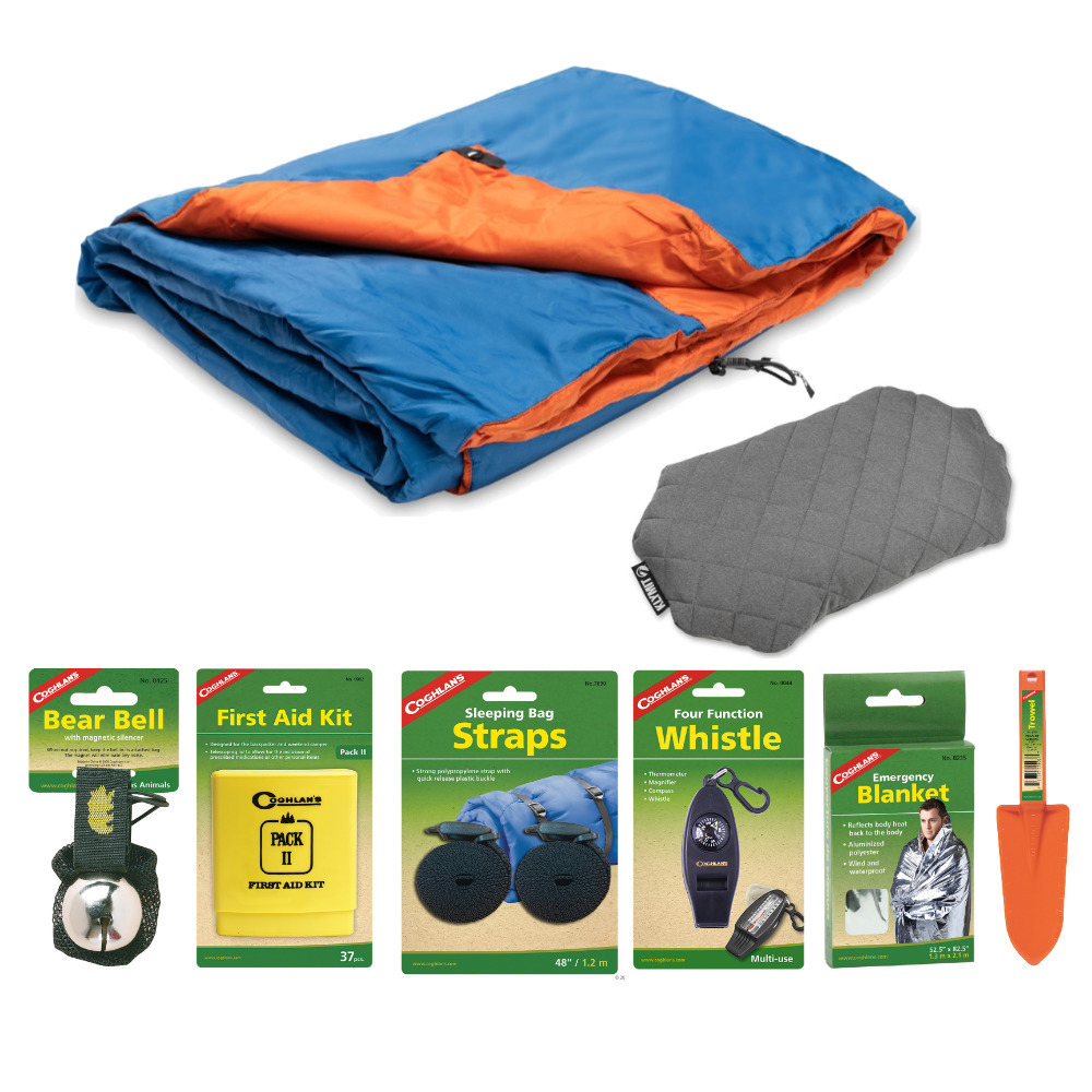Klymit Versa Blue Orange Lightweight Blanket With Luxe