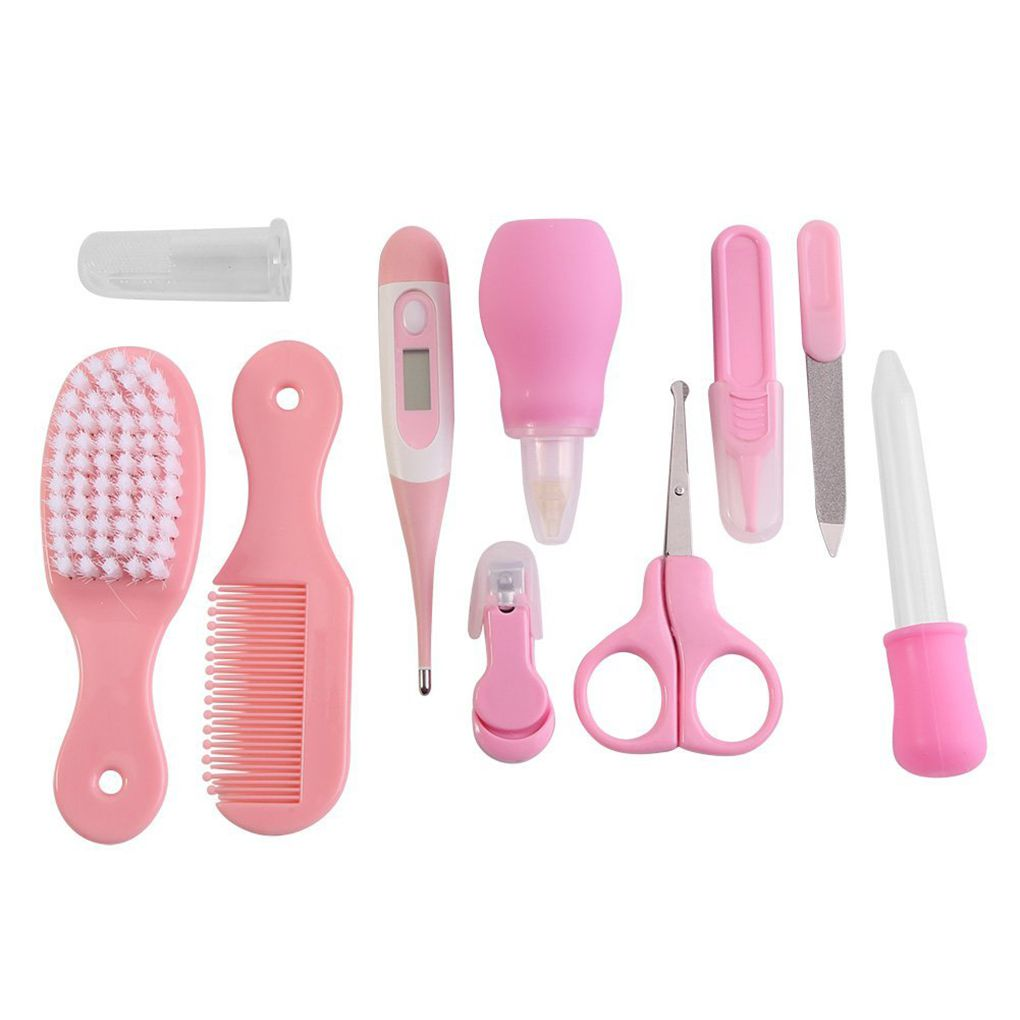10 PCS Baby Infant Health Care Set Multi Functions Newborn Nose Cleaner Nails Clipper Tweezers Thermometer Kit Supplies