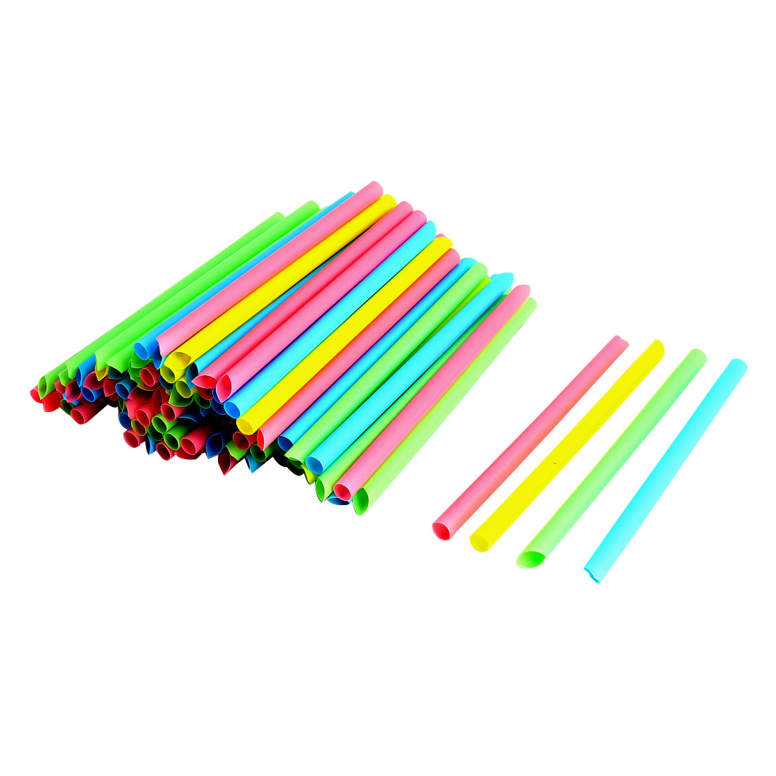100pcs/Pack, 2 Pack, Milkshake Smoothie Slush Disposable Cafe Party Drinking Straws Assorted Colors