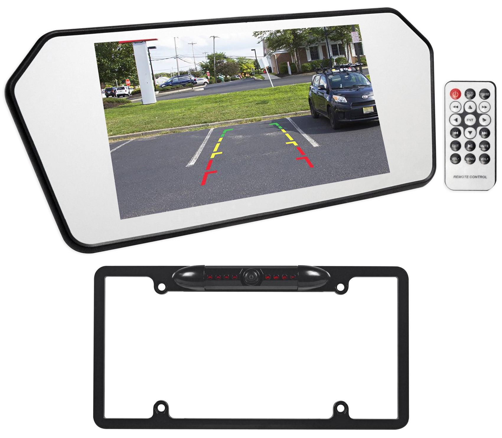 Rockville RBC6B Black Metal IR Night Vision Car License Plate Backup Camera