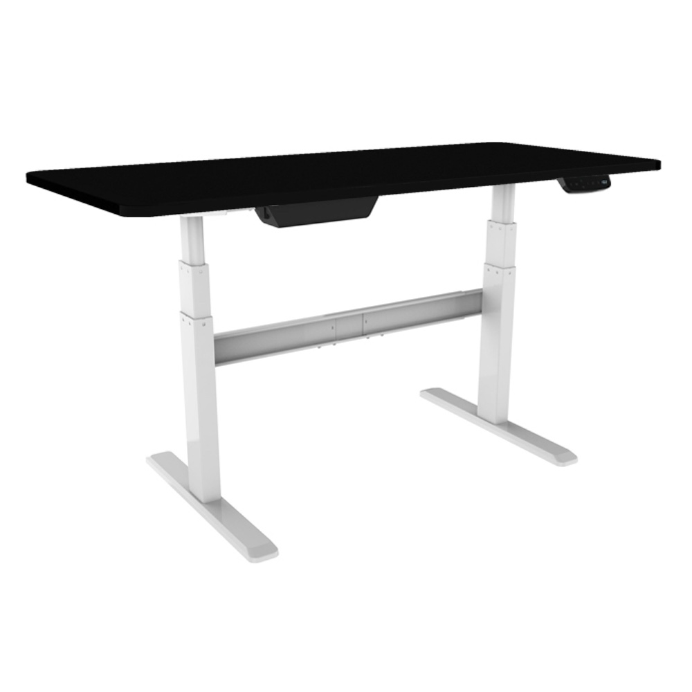 Bordeaux Electric Stand Desk Sit Stand Desk With White Frame And