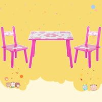 WALFRONT Children Table With Two Chairs Set, Children Activity Table Set Childrens Wooden Table and Chair Set for Studying Painting At Home School