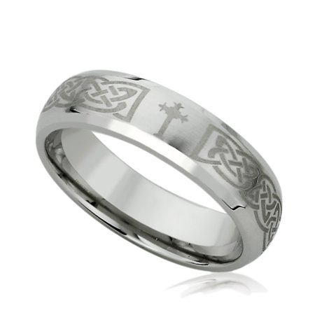 Irish Celtic Wedding Band (Men Women Stainless Steel 6mm Wedding Band Ring Laser Etched Irish Celtic Knott & Cross Ring (5 to 13))