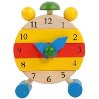 matoen Hand Made Wooden Clock Toys for Kids Learn Time Clock Educational Toys