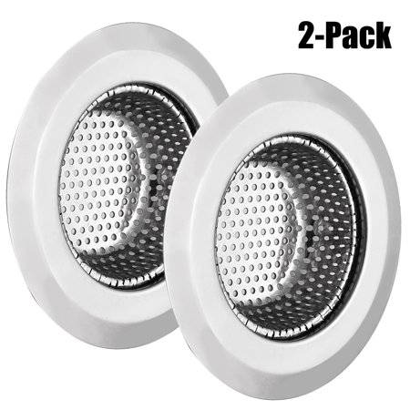 Outgeek 2 Pack Sink Strainer Stainless Steel Sink Strainer for Kitchen Sinks with Wide Rim