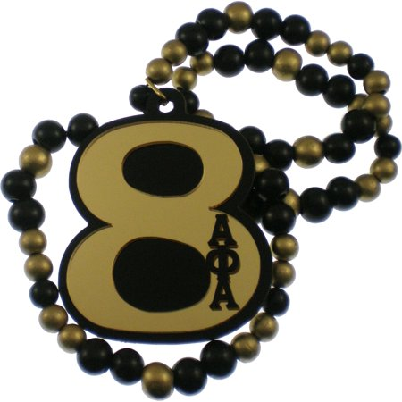 Alpha Phi Alpha Line #8 Mirror Wood Color Bead Tiki Necklace [Black/Gold - 18