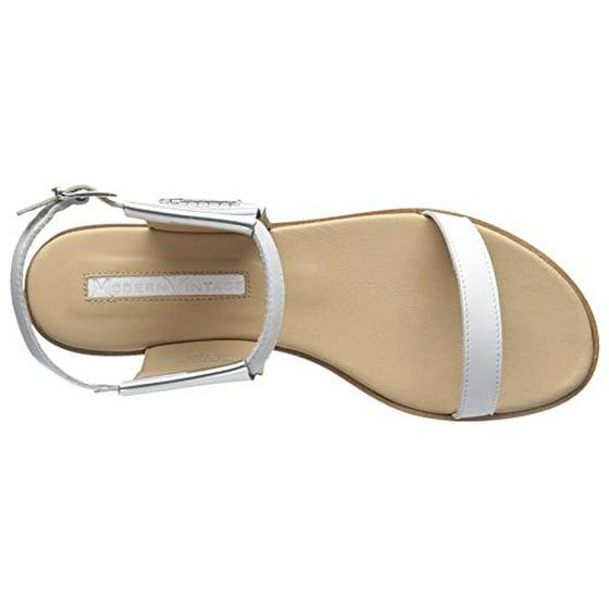 modern vintage femmes  / s delphine flat sandale, Blanc  /  Argent , 40 m ue / 10 m 6150d1