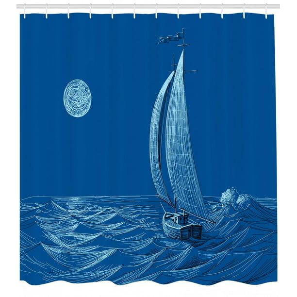 Sailboat Decor Shower Curtain Set Night Sea View Sail Boat In The Moonlight Wavy Nautical Seaman Ship Illustration Bathroom Accessories 69w X 70l Inches By Ambesonne Walmart Com Walmart Com