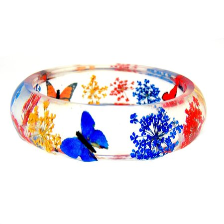 Ginger Lyne Collection Dried Flower Butterfly Resin Bracelet Bangle