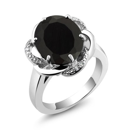 Mens Oval Onyx Ring (4.07 Ct Oval Black Onyx 925 Sterling Silver Women's)