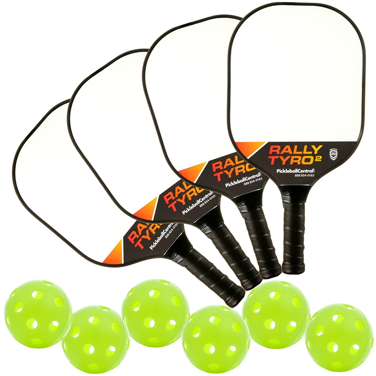 Deluxe Rally Tyro 2 Composite Pickleball Paddle Bundle - 4 paddles/6 balls