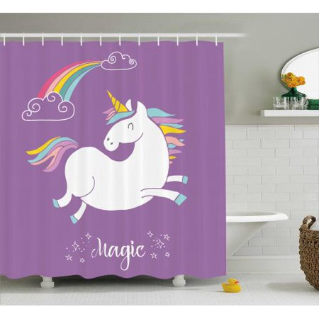 Unicorn Home And Kids Decor Shower Curtain Mythical Animal With Clouds Rainbow Figure Fairy