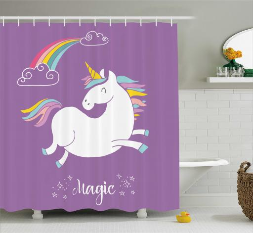 Merveilleux Unicorn Home And Kids Decor Shower Curtain, Mythical Animal With Clouds And  Rainbow Figure Fairy