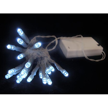 10 battery operated cool white clear led wide angle christmas lights white wire