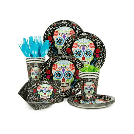 Day of the Dead Standard Halloween Party Supplies Kit (Serves 18) - Budget Halloween Party