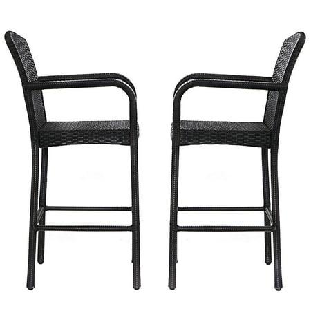 2pcs Patio Rattan Bar Stools High Counter Dining Chair W