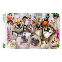 "Pet Animals Selfie Dogs Cats Rabbit Hamster Guinea Pig Home Business Office Sign - Window Sticker - 6"" x 9"" (15.2cm x 22.9cm)"