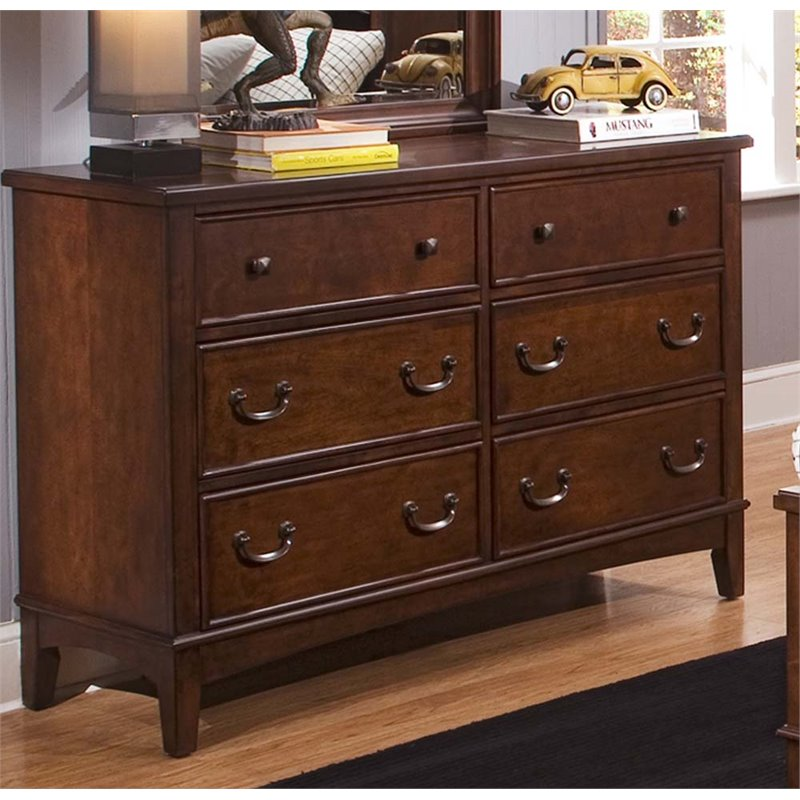 Liberty Furniture Chelsea Square 6 Drawer Double Dresser in Tobacco