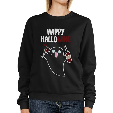Happy Hallowine Ghost Wine Halloween Sweatshirt For Wine Lovers](Happy Halloween Lovers)