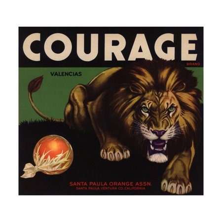 Courage Brand - Santa Paula, California - Citrus Crate Label Print Wall Art By Lantern
