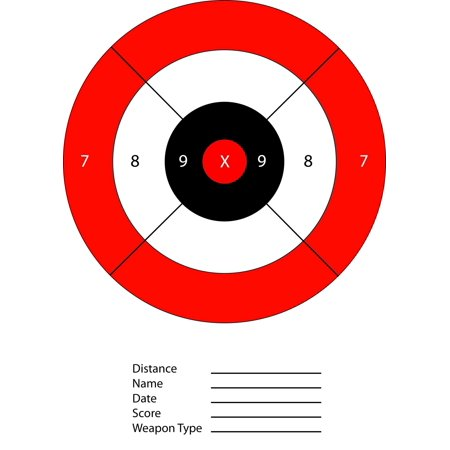 Red & Black Bullseye Paper Shooting Range Targets