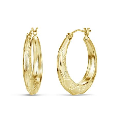18k Golden Earrings - 18K Gold Over Sterling Silver Octagon Shape Engraved Hoop Earrings