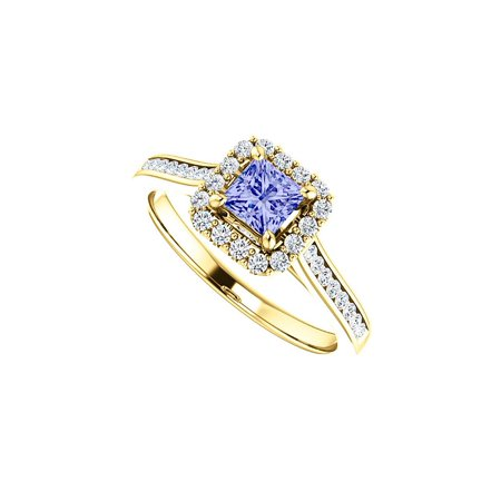 Tanzanite Accented Channel Set (1 CT Channel Set CZ Accented Square Tanzanite Halo)