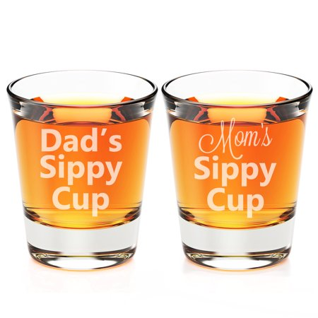 Dad's Sippy Cup and Mom's Sippy Cup Engraved Fluted Shot - Shot Glass Cups