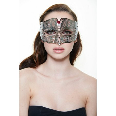 KAYSO INC BD008RDSL LUXURY ROMAN GUARD FILIGREE LASER CUT METAL MASK (SILVER WITH RED RHINESTONES)