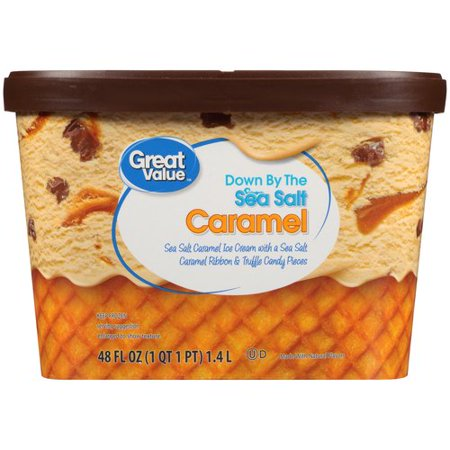 Great Value Sea Salt Caramel Ice Cream, 48 oz