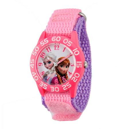 Disney Frozen Anna   Elsa Girls Plastic Case Watch  Pink Nylon Strap