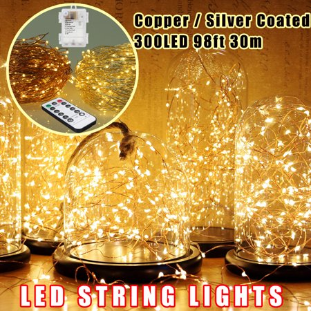 (30M 300LED Fairy String Lights Lamp Silver Copper Wire Battery Christmas Party Decor + Remote Control)
