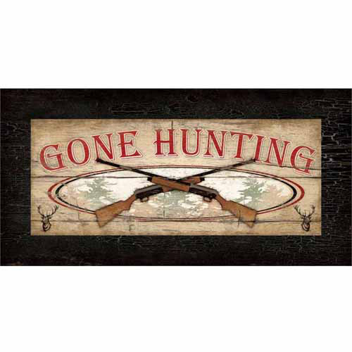 Gone Hunting Gun Buck Wood Grain Distressed Lodge Painting Tan & Brown Canvas Art by Pied Piper Creative