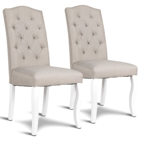 Gymax Set of 2 Fabric Upholstered Dining Chair Tufted Armless w/ Solid Wood Legs Beige