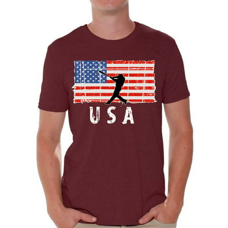 Awkward Styles Baseball USA Men Shirt Red White and Blue Retro USA T shirt for Men United States of America USA Patriotic Men Tshirt 51 States USA Baseball T-shirt for Men Free to Be Me