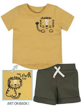 Gerber Toddler Boy Short Sleeve Graphic T-Shirt & Short, 2pc Outfit Set