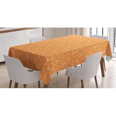 Harvest Tablecloth, Pattern with Pumpkin Leaves and Swirls on Orange Backdrop Halloween Inspired, Rectangular Table Cover for Dining Room Kitchen, 52 X 70 Inches, Orange White, by Ambesonne - Rotom Halloween