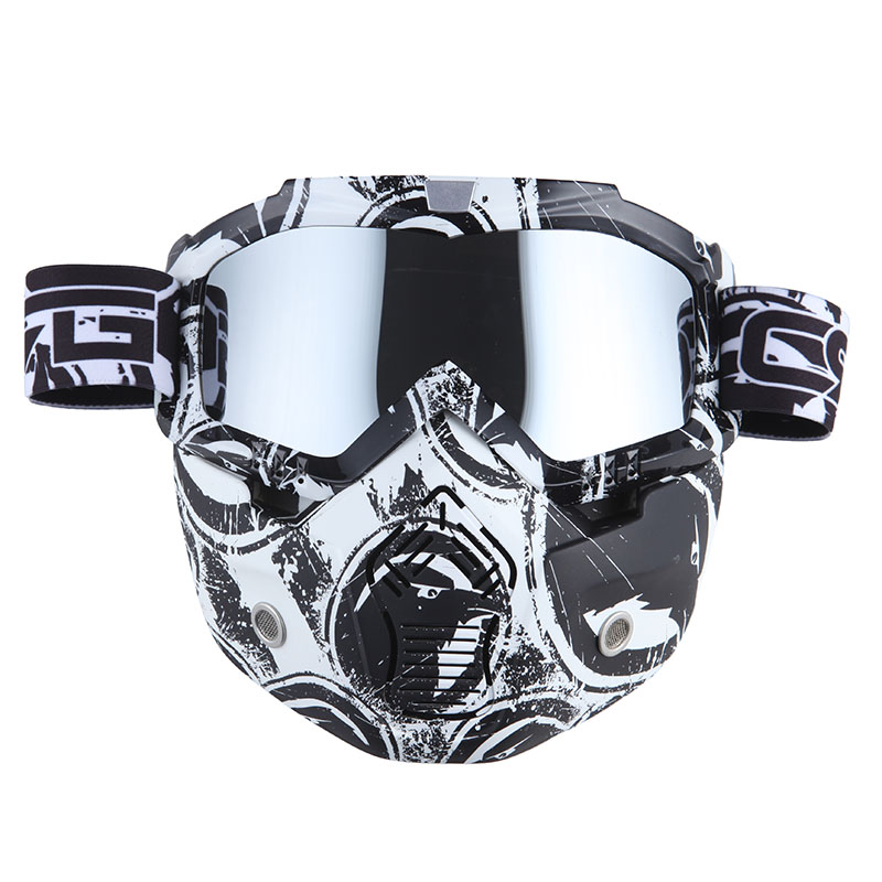 Motorcycle Goggles Mask, Detachable for Motocross Helmet Goggles use, Tactical Airsoft Goggles Mask: Eagle White with... by