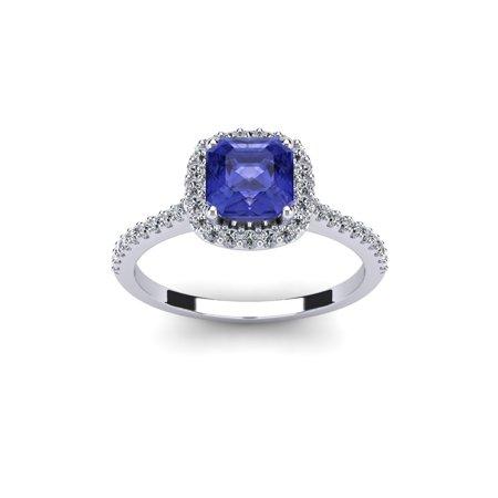 1 1/3 Carat Cushion Cut Tanzanite & Halo Diamond Ring in 14K White Gold ()