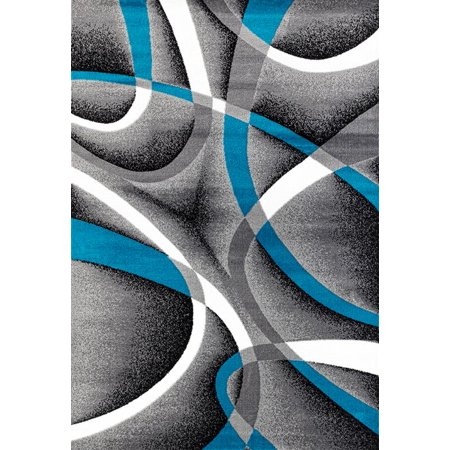 Persian Rugs 2305 Turquoise Modern Abstract Area Rug 5x7