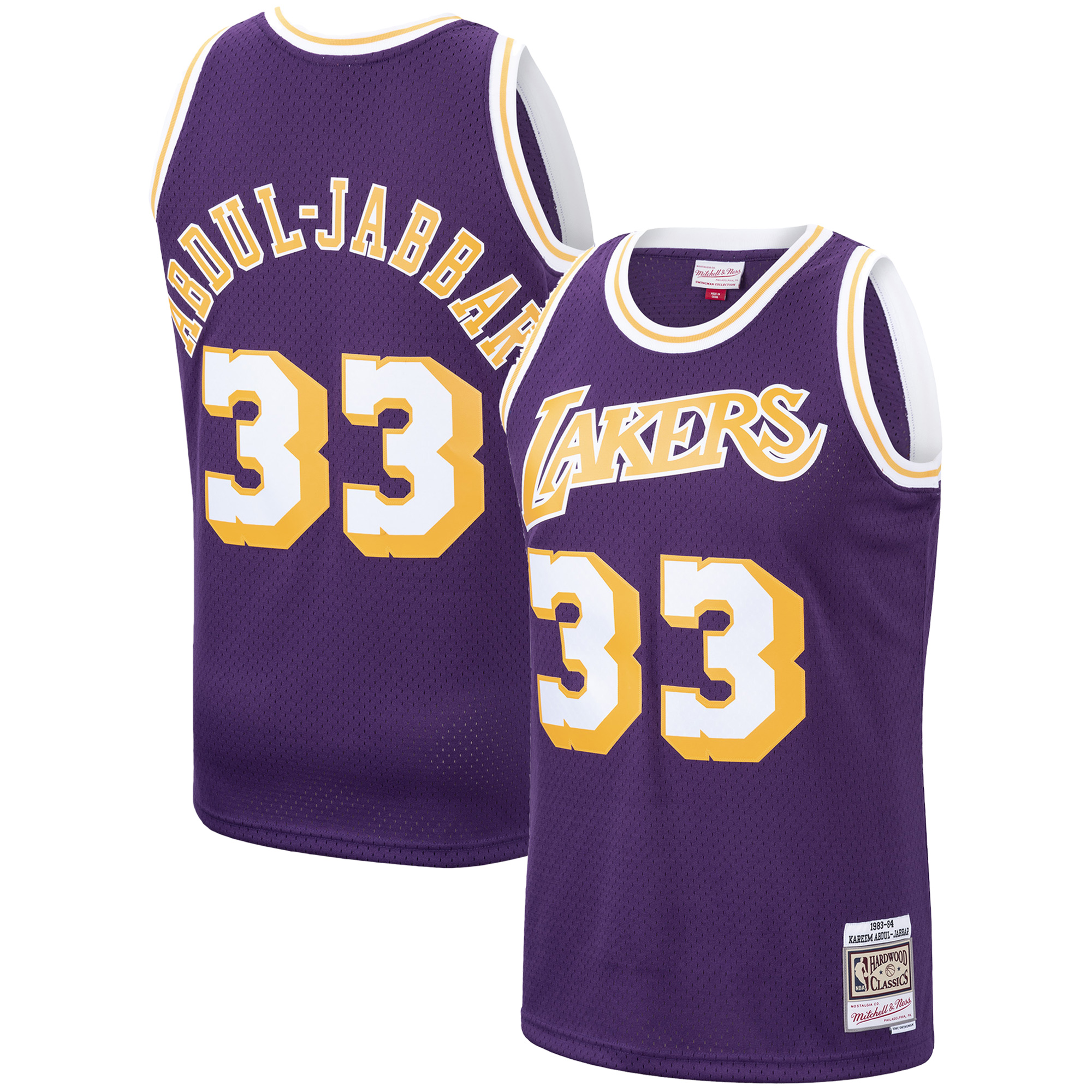 Kareem Abdul-Jabbar Los Angeles Lakers Mitchell & Ness 1983-84 Hardwood Classics Swingman Jersey - Purple