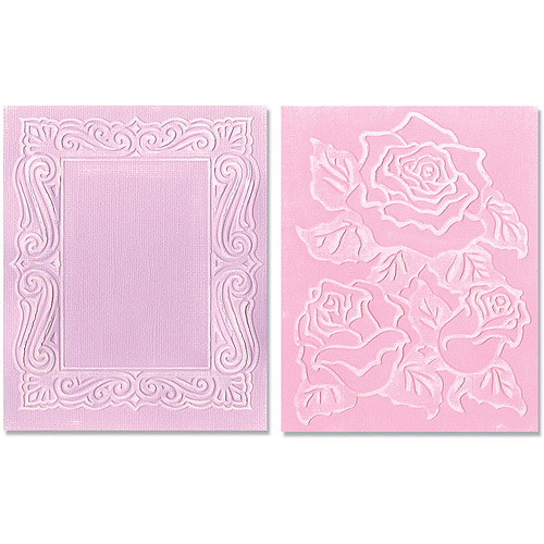 Sizzix Textured Impressions Embossing Folders, Roses & Frame