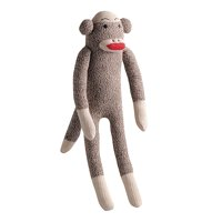 Multipet Plush Sock Monkey Dog Toy with Squeaker, 10""
