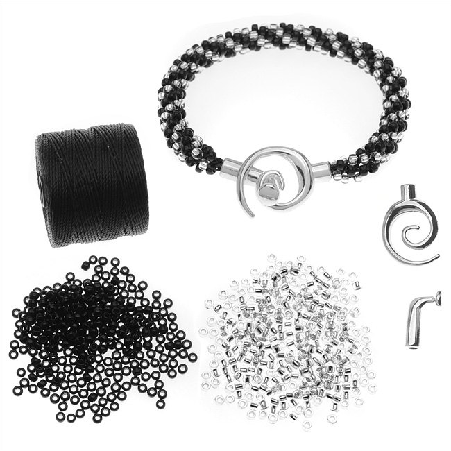 Refill - Spiral Beaded Kumihimo Bracelet (Blk/Cryst) - Exclusive Beadaholique Jewelry Kit
