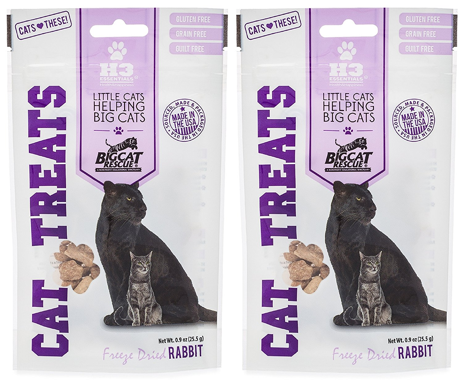 Big Cat Rescue Freeze Dried Rabbit Treats for Cats (2- .9oz packages) by H3 Essentials